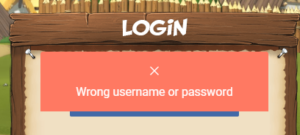 Wrong username or password