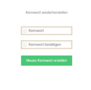 """Gebe Dein neues Password in die Felder """"Passwort"""" und """"Passwort bestätigen"""" ein"""