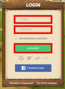 Logge Dich mit Deiner E-Mail-Adresse und Deinem neuen Passwort ein