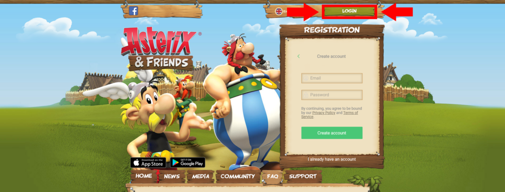 Login Button on Main Page