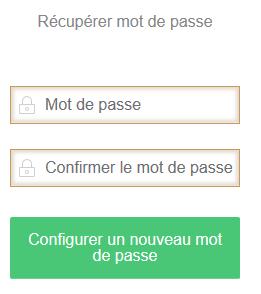 Entrez votre nouveau mot de passe dans le champ « Mot de passe » et « Confirmer Mot de passe »